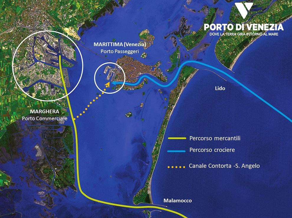 mappa passaggio navi a venezia